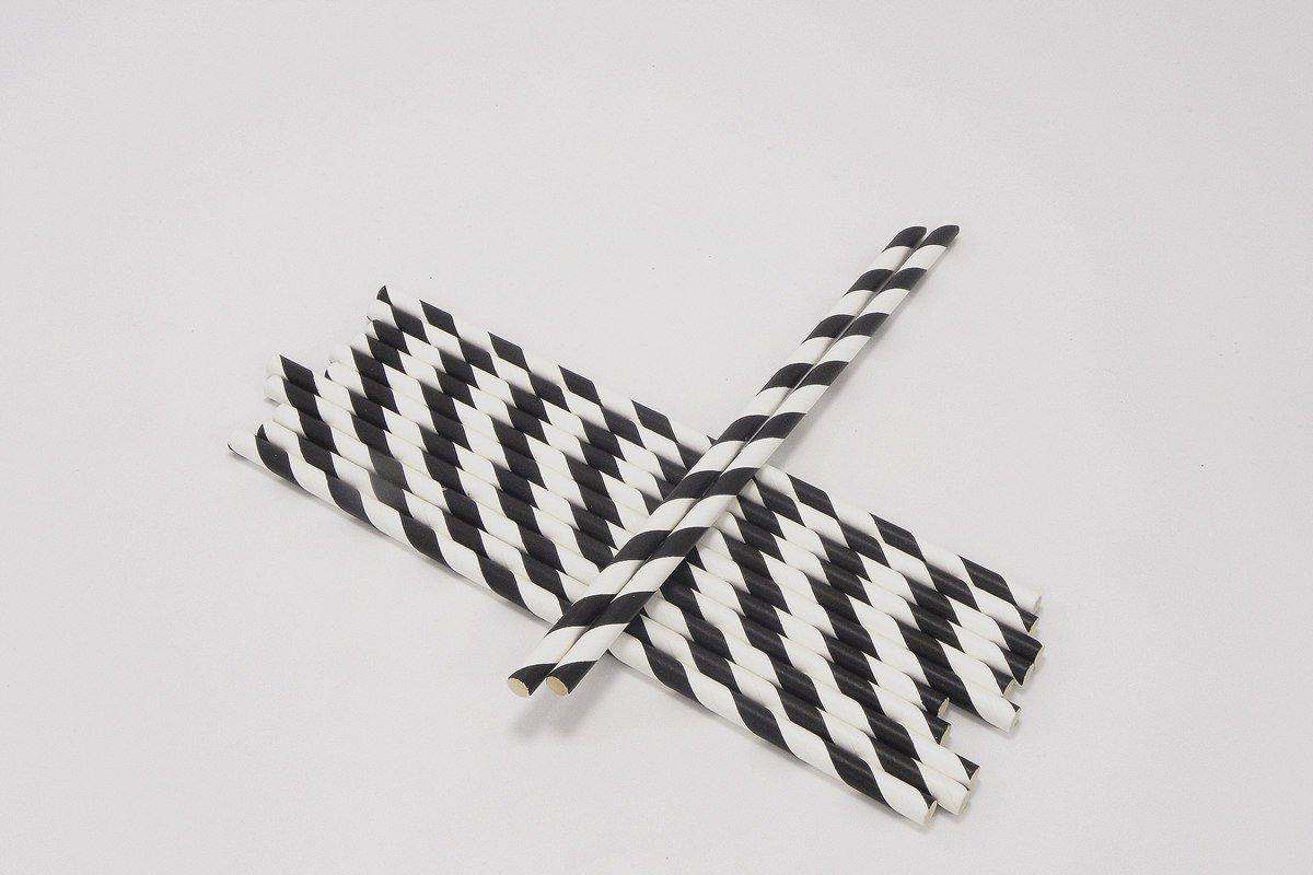 6mm Black and White Striped Paper Straws 5