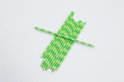 biodegradable bamboo print paper straw 3