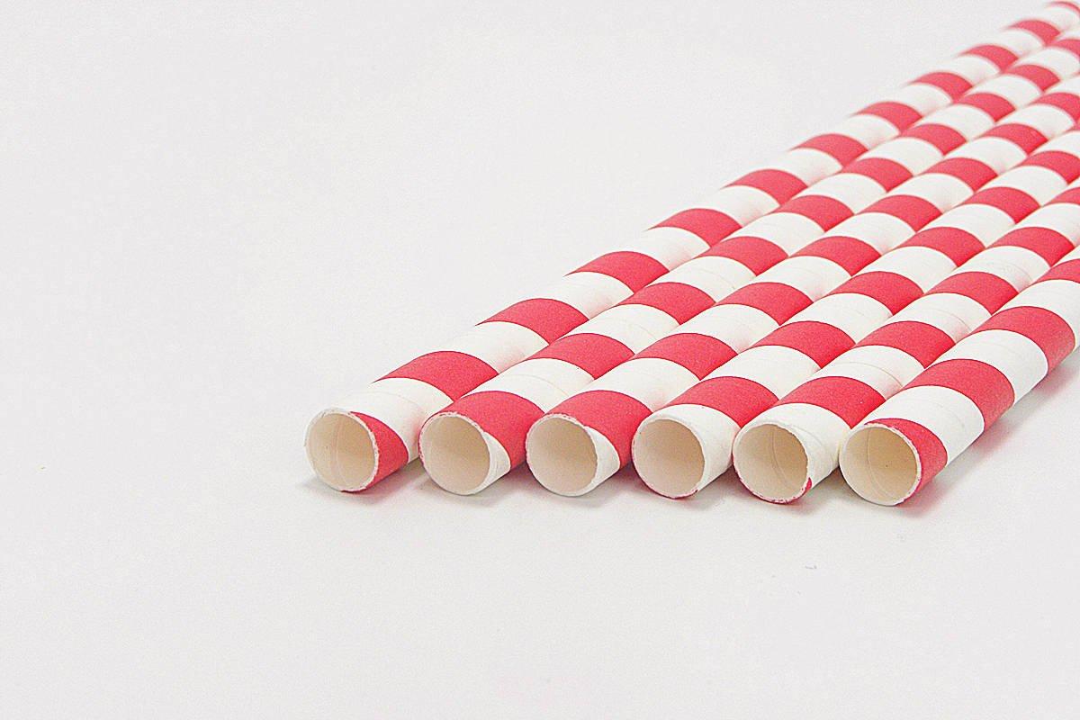 Giant Milkshake Red Stripe Paper Straws Unwrapped 5