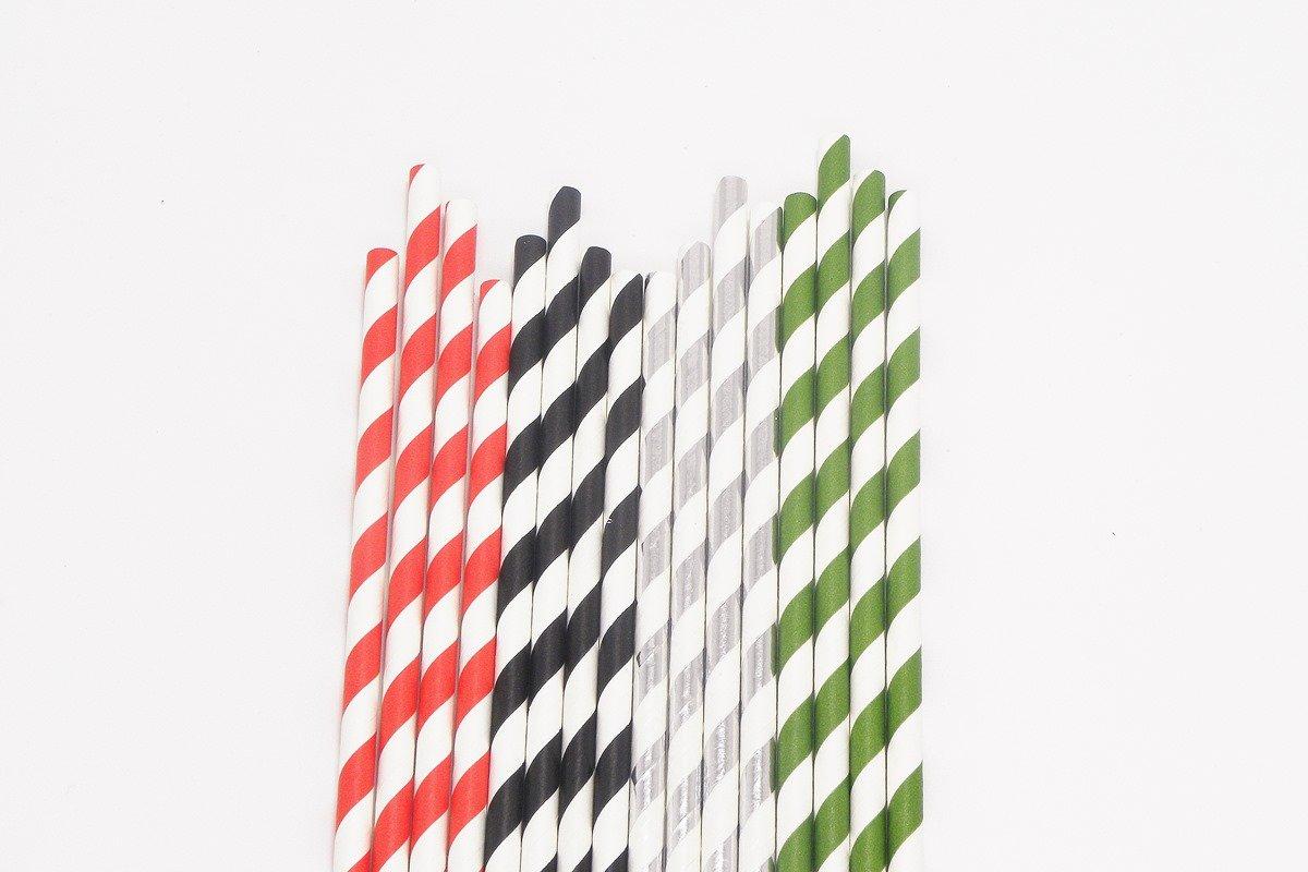 Party Paper Straws Foil Stripe 2