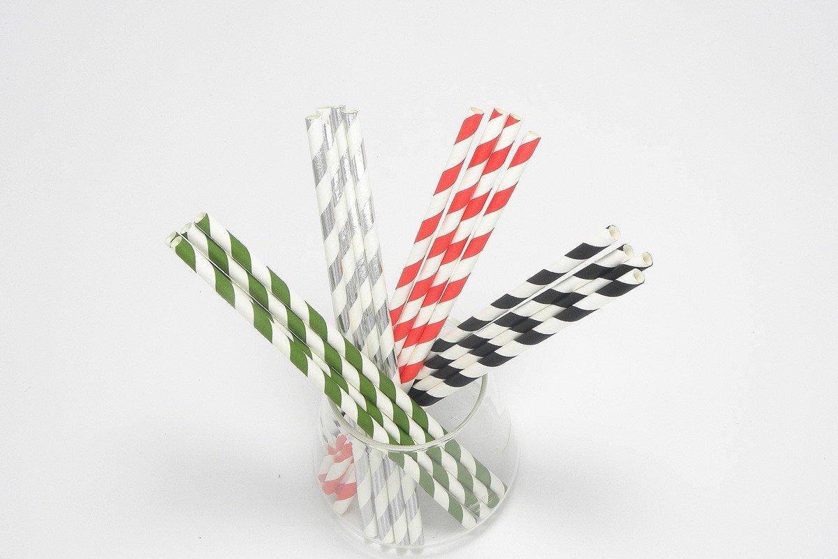 Party Paper Straws Foil Stripe 3