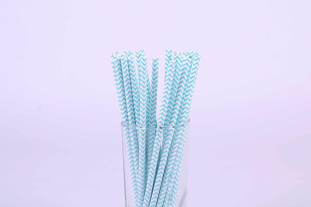 Regular Blue Chevron Paper Straws 6mm 3