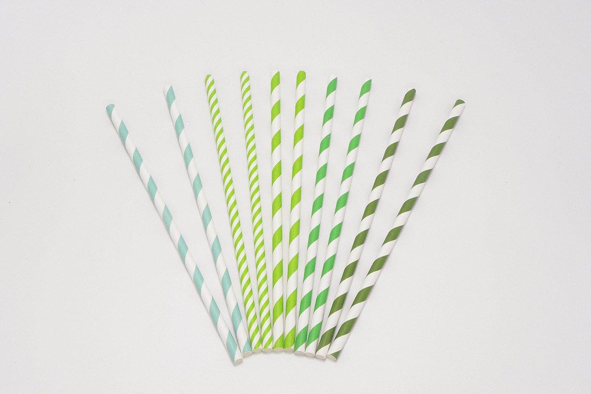 Regular Green Stripe Paper Straws 1