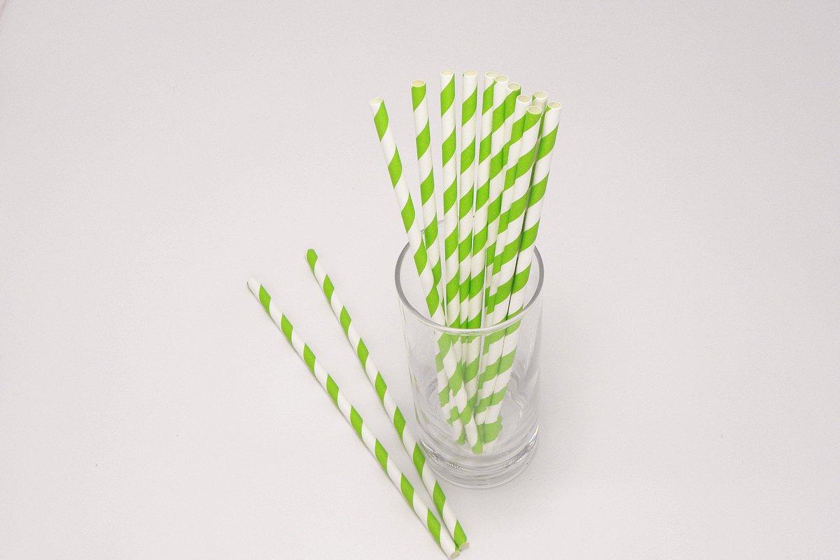 Regular Green Stripe Paper Straws 2