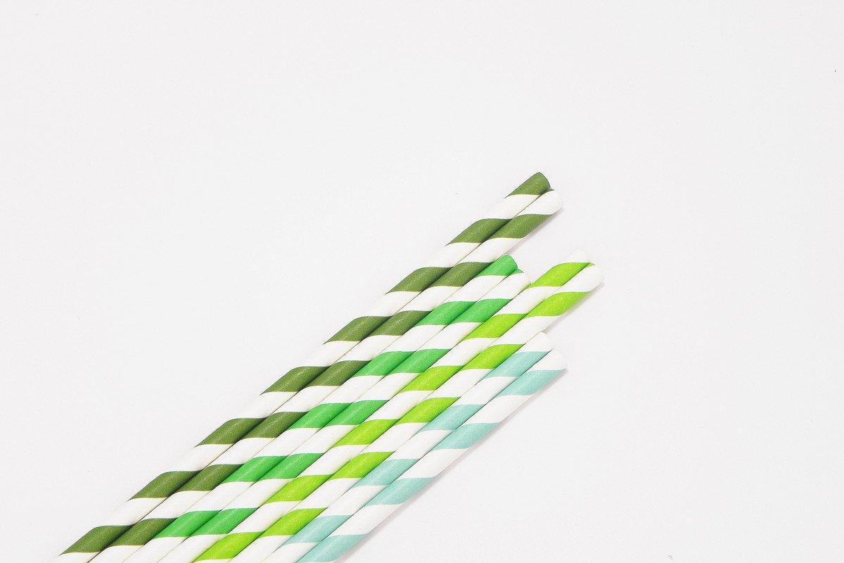 Regular Green Stripe Paper Straws 3