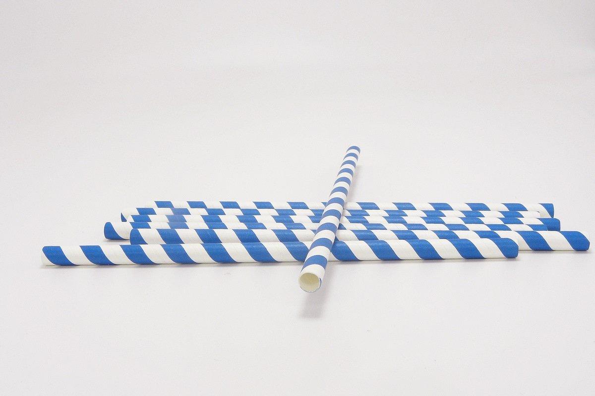 Smoothie Paper Straws Blue Stripe 8mm 10mm 1