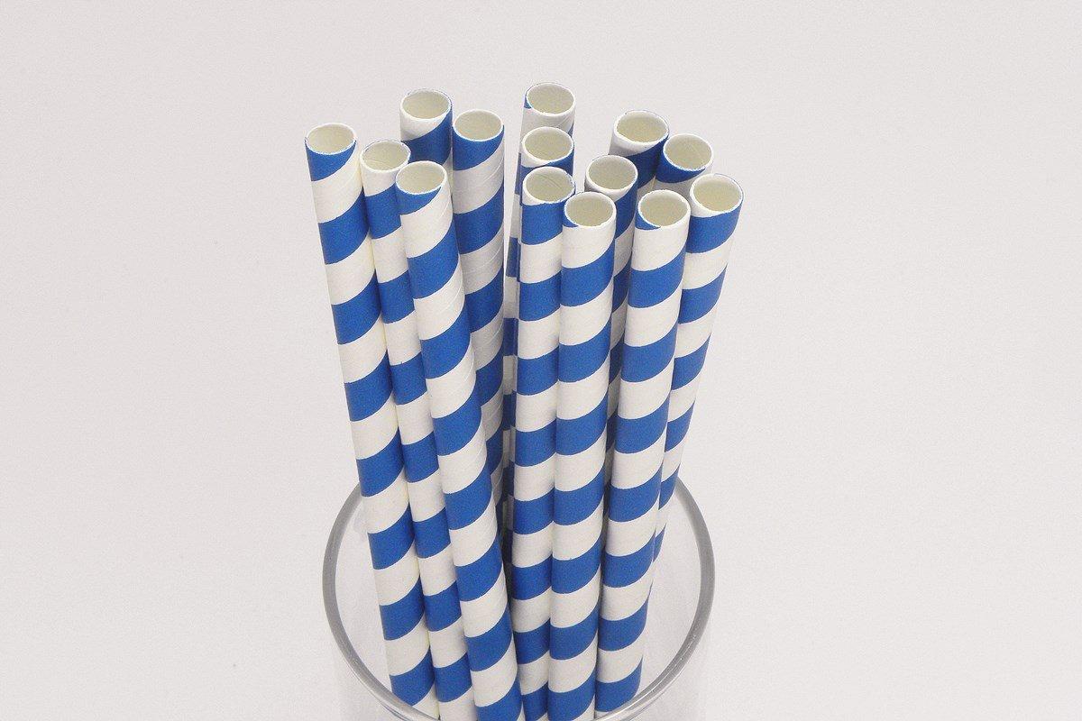 Smoothie Paper Straws Blue Stripe 8mm 10mm 3