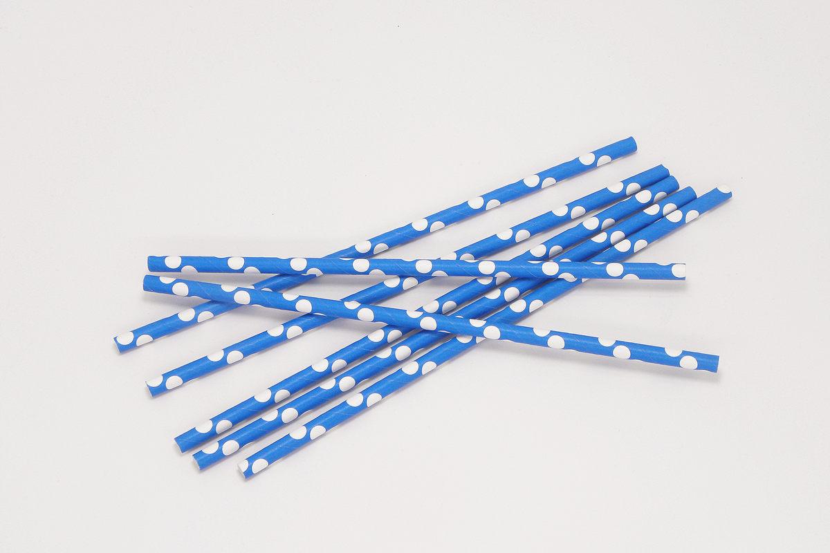 Blue Polka Dot Paper Straws 5
